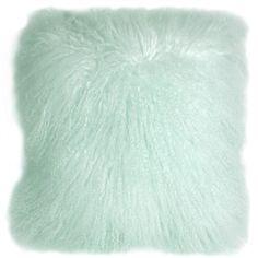 Pillow Decor Mongolian Sheepskin Pastel Mint Throw Pillow ($100) ❤ liked on…