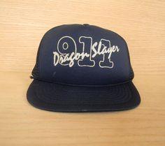 Vintage Navy Blue Mesh Snapback Trucker Hat Baseball Cap