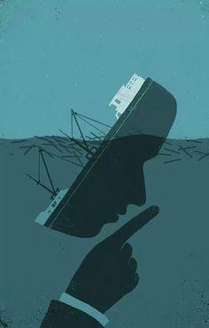 해외) 배가 가라앉는 모습 뒤에 무언가를 숨기는 사람의 얼굴을 배치하여 표현하고자하는것을 잘 표현했다.