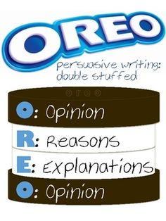 Persuasive OREO Writing: Great idea for   middle school! The students could even be given Oreos as a treat. It's a way   easier way to explain persuasive papers to a younger crowd. I also feel that it   could maybe only be a prop because any paper writing require more attention and   more description than that.