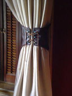 Leather corset look tieback