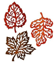 Shop for CottageCutz Die Filigree Fall Leaves Made Easy. Get free delivery On EVERYTHING* Overstock - Your Online Scrapbooking Shop! Fall Crafts, Diy And Crafts, Paper Crafts, Paper Leaves, Paper Flowers, 3d Zeichenstift, Stencils, Kirigami, Silhouette Design