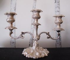 Early 1900s SilverPlated 3Armed Candelabra by LeGrenierNY on Etsy, $95.00
