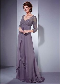 Glamorous Satin Chiffon A-line Gown Full Length Mother of the Bride Dresses