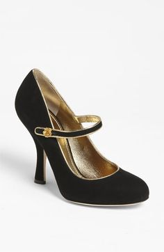 8fb41ceb1d1 Dolce  amp  Gabbana Velvet Mary Jane Pump with gold trim. so beautiful! Mary