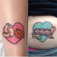 Heart cheese bacon tattoo