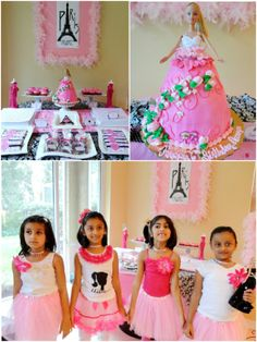 Barbie inspired pink glam birthday - party ideas on DIY decorations, food, desserts, favors, activities and printables! Barbie Birthday Party, Birthday Party Outfits, Barbie Party, Girl Birthday, Birthday Ideas, Birthday Party Decorations Diy, Kids Party Themes, Party Ideas, Party Crafts