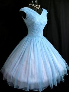1950's Periwinkle Chiffon Prom Dress