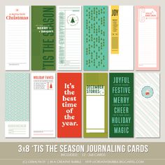 This set of twelve digital journaling cards is perfect for pocket page protectors, scrapbooking and mini-books. Included in this set are individual. Project Life Scrapbook, Page Protectors, Digital Journal, Christmas Minis, December Daily, Daily Photo, Merry And Bright, Mini Books, Tis The Season