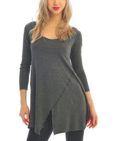 Charcoal Bias Stripe Tunic