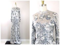 GENE SHELLY'S Boutique Pearl Beaded Sequined Gown // Fully Embellished Full Length Sequined Dress // Mirror Silver Sequin Beaded Gown - Braxae Vintage Co. - My Etsy Shop ,  #Beaded #Boutique #braxae #Dress #Embellished #Etsy #full #fully #GENE #Gown #length #Mirror #Pearl #Sequin #Sequined #SHELLYS #Shop #silver #Vintage Check more at... Silver Sequin Skirt, Sequin Kimono, Sequin Dress, Black Sequins, Beaded Gown, Vintage Gowns, Purple Blouse, Pearl Beads, High Neck Dress