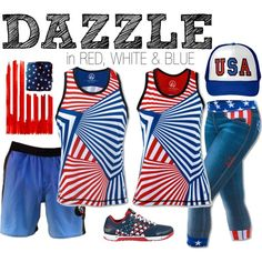 Dazzle in Red, White & Blue by mrscrashmattb on Polyvore featuring Reebok, INKnBURN, LibertyCapris and DazzleSinglet