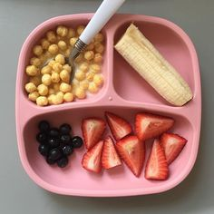 of A's breakfast today. Honey kix cereal with whole milk, half of a banana and berries. A ate two servings of kix, all of her strawberries, all of her banana and some blueberries. Toddler Friendly Meals, Healthy Toddler Meals, Toddler Lunches, Kids Meals, Toddler Dinners, Toddler Food, Baby First Foods, Baby Finger Foods, Baby Foods