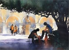 Shoeshine - Mexico by Thomas W. Schaller Watercolor ~ 14 inches x 21 inches