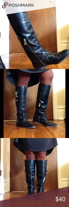 Coach Riding Boots Black leather with gold details. Bottoms are worn (could easily be re-soled) but exterior is in great condition! Coach Shoes Winter & Rain Boots