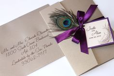 Embellished Paperie: Peacock Purple and Gold Wedding Invitation
