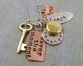 Hand Stamped Charm Necklace - Personalized Jewelry - Hand Stamped Jewelry - TIME