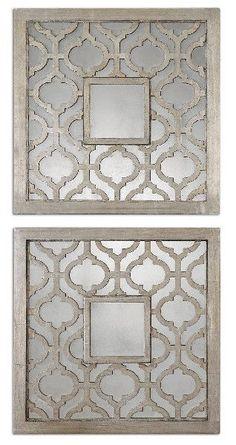 Uttermost Silver Leaf Sorbolo Squares Art - 2Pc Bundle