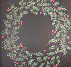 Wreath Sidewalk Chalk, Chalkboards, Chalk Art, Tapestry, Wreaths, Crafts, Home Decor, Hanging Tapestry, Tapestries