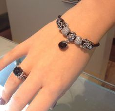 PANDORA. Leather Bracelet with Pave, Black Dangle and Pansy Spacers. Love the Matching Ring.