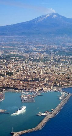 Aerial View Of Catania And Etna, Sicily, Italy