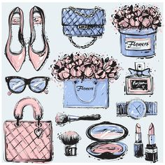 Pantone 2016 Rose Quartz and Serenity vector sketch fashion illustration Three Color Combinations, Vogue Fashion, Big Fashion, Flower Boxes, Cute Stickers, Free Printable Stickers, Fashion Sketches, Doodle Art, Planner Stickers