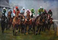 FIRST TIME ROUND, Cheltenham Painting - Original Horse Racing Painting by David Mouse Cooper