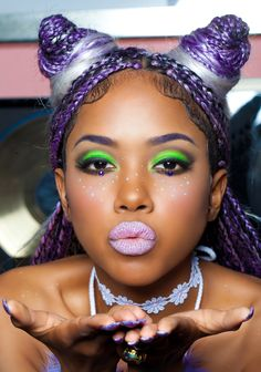 lime crime, green eyeshadow, smokey eye makeup, lavender lipstick, purple box braids