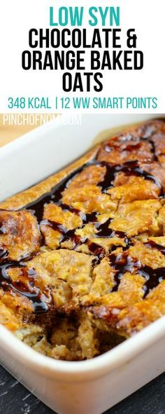 Chocolate Orange Baked Oats - Pinch Of Nom Slimming Recipes astuce recette minceur girl world world recipes world snacks Baked Oats Slimming World, Slimming World Puddings, Slimming World Cake, Slimming World Desserts, Slimming World Breakfast, Slimming World Recipes Syn Free, Slimming World Porridge, Slimming World Brownies, Slimming World Overnight Oats