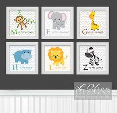 Zoo Safari Animals Chevron and Letters Nursery Art - DIY Printable. $26.50, via Etsy.