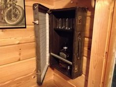 Bar cabinet made from old suitcase