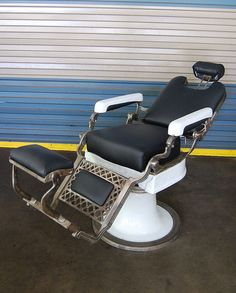 Reclining Barber Chair, same one my grandfather had in his barber shop. Brings back some memories.