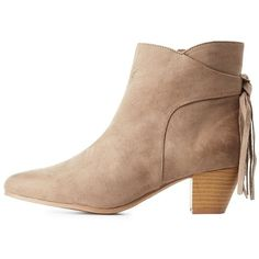 Qupid Fringed-Tie Pointed Toe Booties ($20) ❤ liked on Polyvore featuring shoes, boots, ankle booties, taupe, qupid booties, fringe boots, short boots, pointy-toe ankle boots and taupe fringe booties
