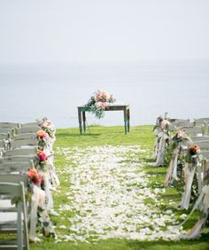 Outdoor wedding ceremony chairs ... Floral bouquets with streamers garlands ... Wedding ceremony aisle ...  rustic glamorous, vintage, country elegance, shabby chic, boho, whimsical