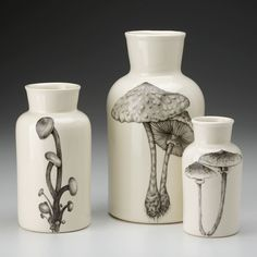 Laura Zindel Design - Set of 3 Jars: Mushrooms, $180.00 (http://www.laurazindel.com/set-of-3-jars-mushrooms/)