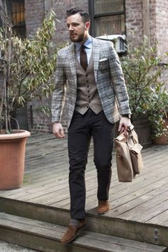 Blanket plaid jacket pocket square detail men style with these shoes Mens Fashion Sweaters, Mens Boots Fashion, Mens Fashion Suits, Sweater Fashion, Fashion Menswear, Fashion Moda, Look Fashion, Fashion Outfits, Business Fashion