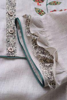 Buy Blouse BEACH – combined, Russian style, blouse for women, linen … - Pretty Pretty Kurti Sleeves Design, Kurta Neck Design, Sleeves Designs For Dresses, Dress Neck Designs, Sleeve Designs, Blouse Designs, Blouse Patterns, Sewing Patterns, Sewing Sleeves