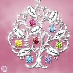 Wondering what to buy Grandma or Mom for Christmas?  Delight her with a personalized family tree necklace.  She'll love wearing this beautiful family tree necklace with grandkids' names and birthstones!