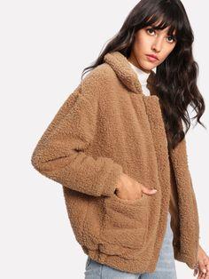 Dual Pocket Faux Fur Jacket -SheIn(Sheinside)