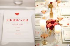printed menu cards, pink and red roses and gold accents // 100 Layer Cake // Photography: Catherine Guidry  // Paper goods: Val Marie Paper