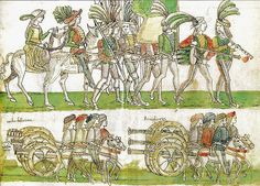 Le truppe francesi entrano a Napoli, febbraio 1495, in Cronaca figurata del Quattrocento di Melchiorre Ferraiolo, 1498 ca.