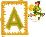Alfabeto animado de Peter Pan sobre mástil.