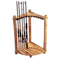 Log Cabin Style Corner Rod Rack Fishing Lures Tackle Box Saltwater Storage Pine: Especially in my home. Hubby has them strewn everywhere. Fishing Pole Storage, Fishing Pole Holder, Pole Holders, Fishing Lures, Fishing Boats, Kayak Holder, Fishing Rod Stand, Surf Fishing, Gone Fishing