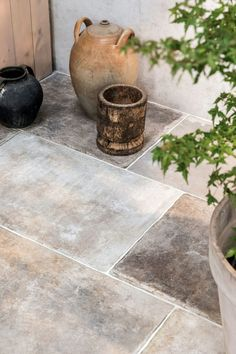 Choose the Wexford Natural Porcelain Tile to add an authentic looking, large porcelain tile with the charm of Yorkstone paving slabs. Shop at Mandarin Stone. Balcony Tiles, Terrace Tiles, Patio Tiles, Outdoor Tiles Patio, Garden Tiles, Garden Floor, Balcony Garden, Outdoor Plants, Outdoor Spaces