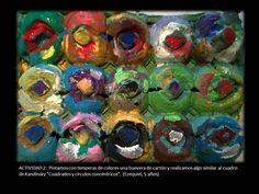 """Trabajamos la pintura """"Cuadrados con círculos concentricos, 1913"""". Pintamos con temperas una huevera de cartón y realizamos algo similar."""