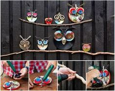 DIY Recycled Lid Owls decoration --> http://wonderfuldiy.com/wonderful-diy-recycled-lid-owls/  #diy #owlcraft #recycling