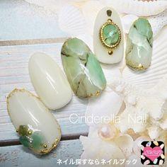 ネイル 画像 シンデレラ☆ネイル 小野 1547934 クリア 緑 白 マーブル マリン オフィス 夏 リゾート ミディアム