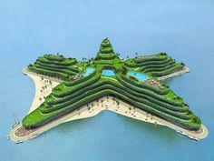 Ilha em forma estrela-do-mar para as Maldivas, projeto do Waterstudio