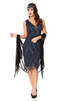 The liz flapper #dress is the ideal party dress for all types of occasions. This heavily embellished 1920s style sleeveless flapper with #scalloped sequin pattern...