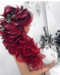 80 Attractive Christmas Hairstyles for the Best Holiday Look - Page 48 of 200 - CoCohots - cocohots - Hair Styles Color Your Hair, Cool Hair Color, Hair Colors, Fantasy Hair, Christmas Hairstyles, Mermaid Hair, Crazy Hair, Hair Art, Hair Videos